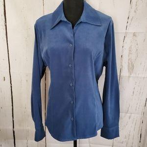 Dusty Blue Velour Button Down Blouse
